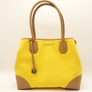 NWT MICHAEL KORS Mercer Medium Tote Yellow Canvas